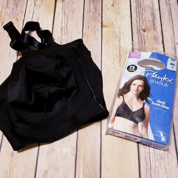 Playtex Women's 18 Hour 4930 Sleek Front-Close Wirefree Bra 42D Black NWT!
